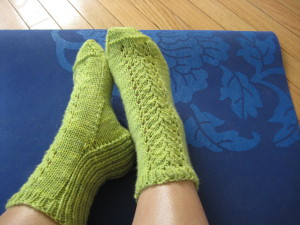 Spring Savasana Socks by Gina House (Ivy Brambles Yarn)
